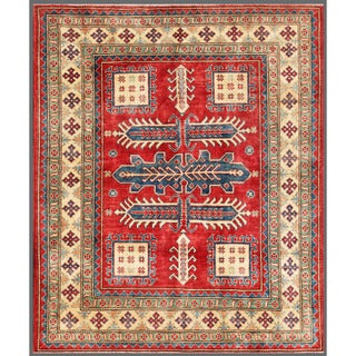 Afghan Hand-knotted Kazak Red/ Ivory Wool Rug (6'1 x 7'3)