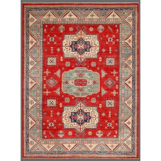 Herat Oriental Afghan Hand-knotted Kazak Red/ Green Wool Rug (8'11 x 11'5)