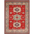 Afghan Hand-knotted Kazak Red/ Green Wool Rug (8'11 x 11'5)
