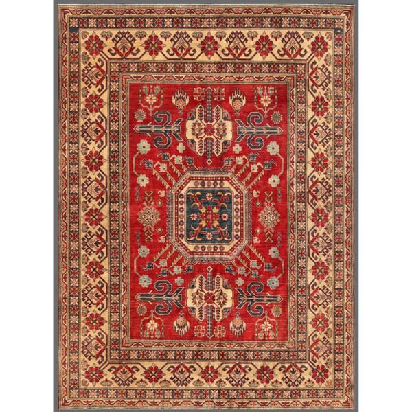 Herat Oriental Afghan Hand-knotted Kazak Red/ Beige Wool Rug (7'7 x 10'3)
