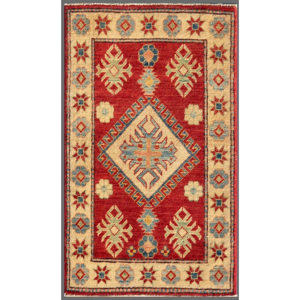 Afghan Hand-knotted Kazak Red/ Beige Wool Rug (2' x 3'4)
