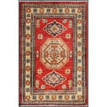 Afghan Hand-Knotted Kazak Red/Ivory Rectangular Wool Rug (1'11 x 3')