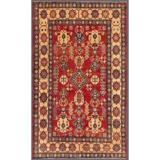 Afghan Hand-knotted Kazak Red/ Gold Wool Rug (6'1 x 10'2)
