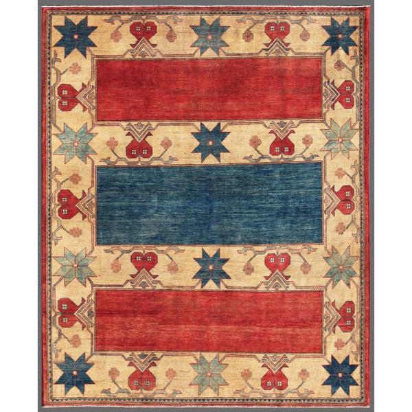 Afghan Hand-knotted Kazak Red/ Beige Wool Rug (6'8 x 8'1)
