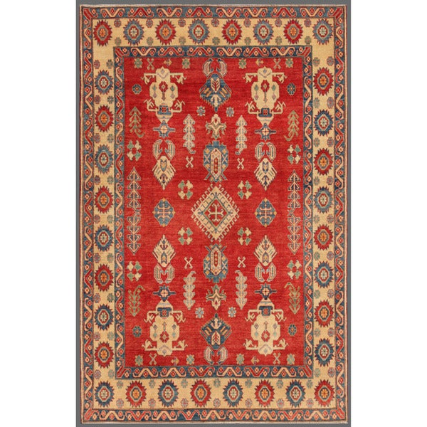 Afghan Hand-knotted Kazak Red/ Ivory Wool Rug (7' x 10'9)