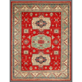 Herat Oriental Afghan Hand-knotted Kazak Red/ Green Wool Area Rug (9' x 11'4)