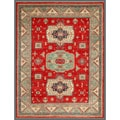 Afghan Hand-knotted Kazak Red/ Green Wool Rug (9' x 11'4)