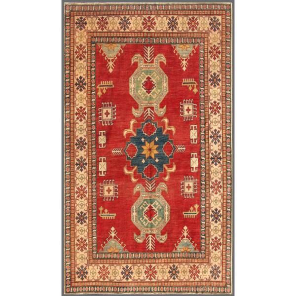 Afghan Hand-knotted Kazak Red/ Beige Wool Rug (6'9 x 11'3)