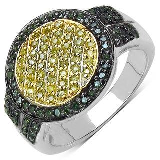 Malaika Sterling Silver 1/2ct TDW Yellow and Green Diamond Ring