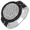 Malaika Sterling Silver 1/2ct TDW White and Black Diamond Ring (I-J, I3)
