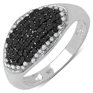 Malaika Sterling Silver 1/2ct TDW Black and White Diamond Ring (I-J, I3)