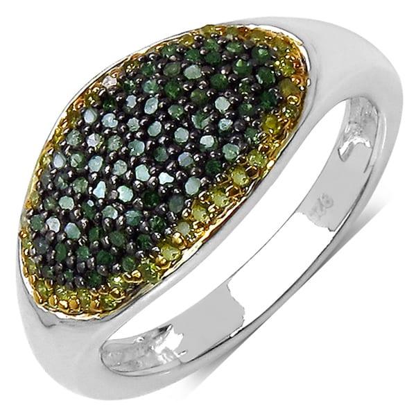 Malaika Sterling Silver 1/2ct TDW Green and Yellow Diamond Ring