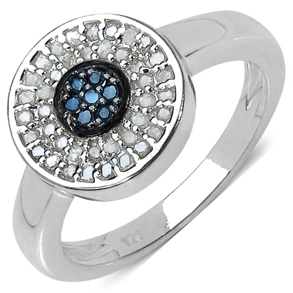Malaika Sterling Silver 1/4ct TDW Blue and White Diamond Ring (I-J, I3)