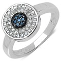 Malaika Sterling Silver 1/4ct TDW Blue and White Diamond Ring (I-J, I3)