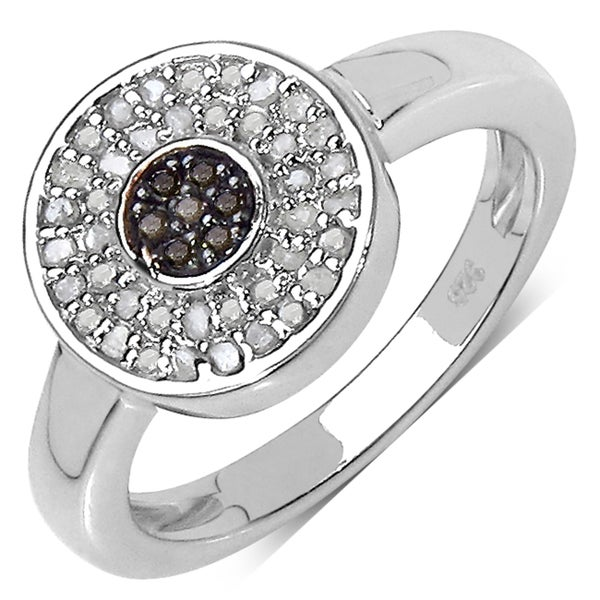 Malaika Sterling Silver 1/4ct TDW Champagne and White Diamond Ring (I-J, I3)