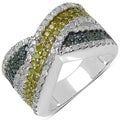 Malaika Silver 1 2/5ct TDW Yellow, Green and White Diamond Ring (I-J, I3)