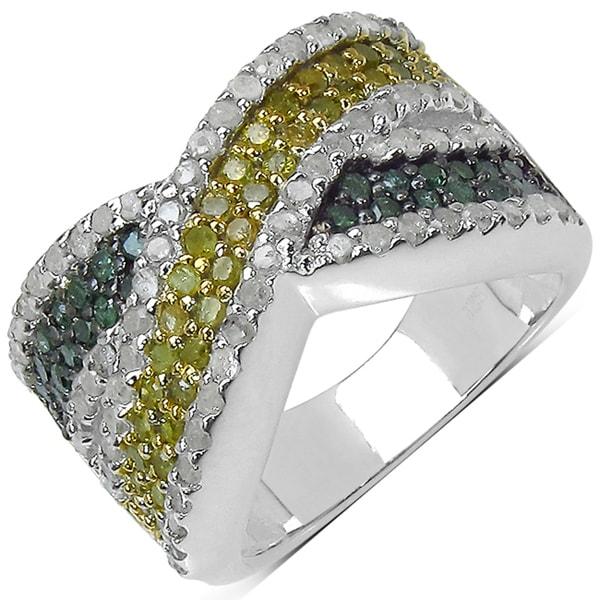 Malaika Silver 1 2/5ct TDW Yellow, Green and White Diamond Ring (I-J, I3)