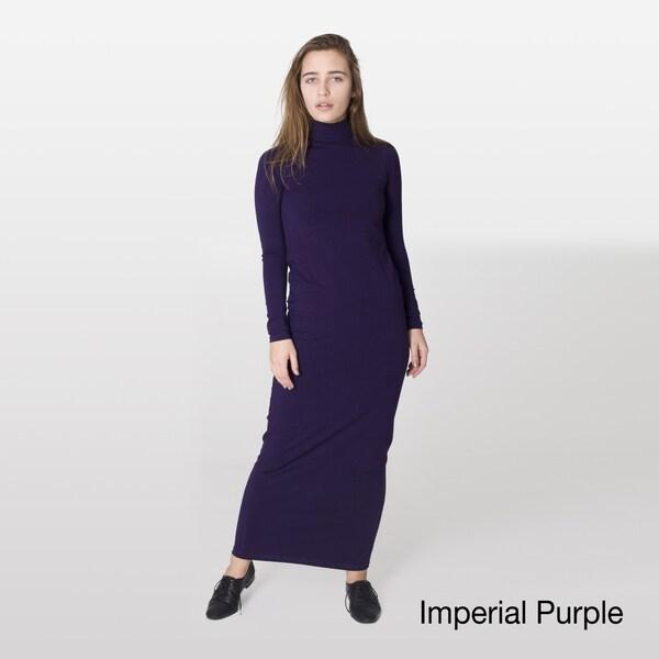 American Apparel Women's Jersey Knit Turtleneck Maxi Dress