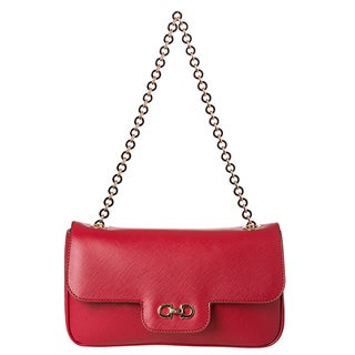 Salvatore Ferragamo Women's 'Luciana' Red Embossed Calfskin Shoulder Bag
