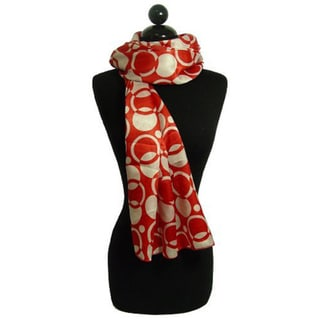 Peach Couture Women's Red and White Circle Pattern Scarf