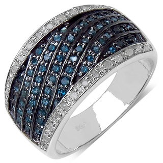 Malaika Sterling Silver 4/5ct TDW Blue and White Diamond Ring (I-J, I3)