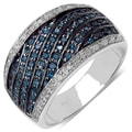 Malaika Sterling Silver 4/5ct TDW Blue and White Diamond Ring (I-J, I3)