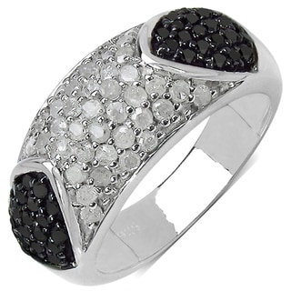 Malaika Sterling Silver 1ct TDW White and Black Diamond Ring