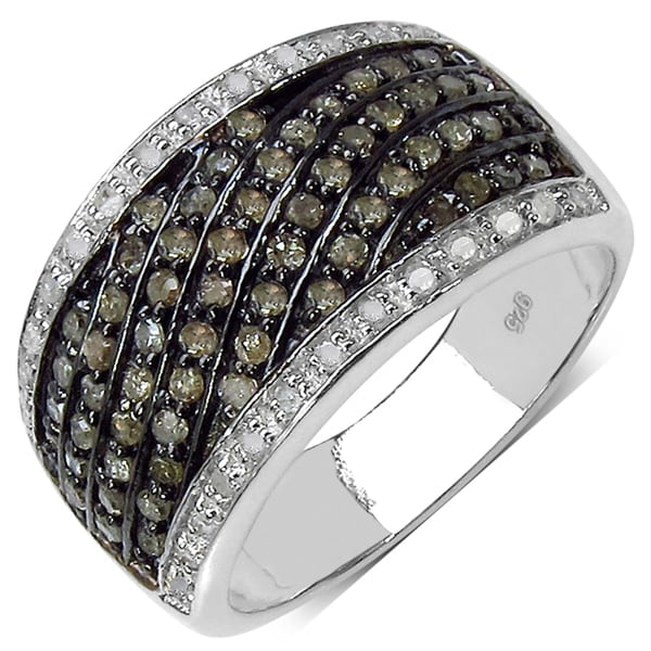Malaika Sterling Silver 4/5ct TDW Champagne and White Diamond Ring (I-J, I3)
