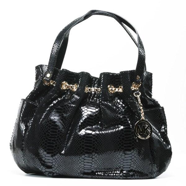 MICHAEL Michael Kors Women's Black Leather Chain Ring Tote Bag