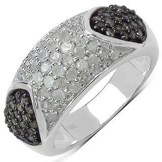 Malaika Sterling Silver 1ct TDW White and Champagne Diamond Ring