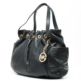MICHAEL Michael Kors Women's 'Jet Set' Black Leather Chain Ring Tote Bag