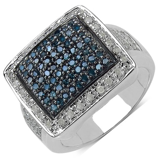 Malaika Sterling Silver 3/5ct TDW Blue and White Diamond Ring (I-J, I3)