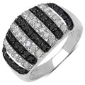Malaika Sterling Silver 4/5ct TDW Black and White Diamond Ring (I-J, I3)