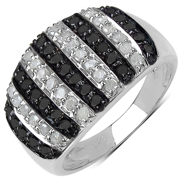 Malaika Sterling Silver 4/5ct TDW Black and White Diamond Ring (I-J, I3)