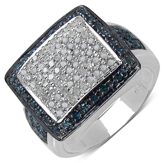 Malaika Sterling Silver 3/5ct TDW White and Blue Diamond Ring (I-J, I3)