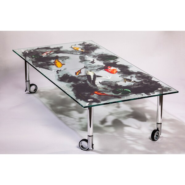 Maxwell Dickson Glass 'Koi' Art Print Coffee Table