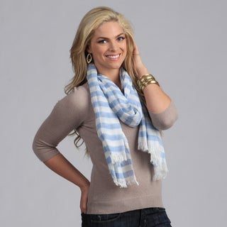 Peach Couture Women's Blue and White Nautical Stripe Pattern Scarf
