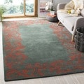 Handmade Bella Blue Wool and Viscose Rug (6' Square)