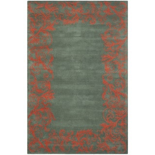Handmade Bella Blue Wool and Viscose Rug (8' x 10')