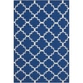 Handwoven Moroccan Dhurrie Transitional Geometric Dark-Blue Wool Rug (5' x 8')
