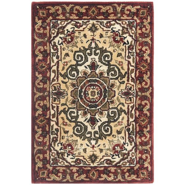 Safavieh Handmade Floral Persian Legend Red/ Ivory Wool Rug (3' x 5')