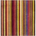 Handmade Rodeo Drive Red Rainbow Stripe Rug (8' Square)