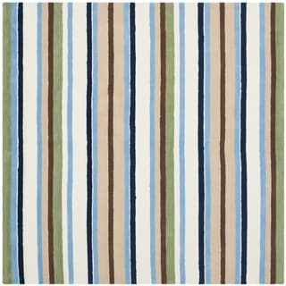 Handmade Children's Stripes Cotton Rug (6' Square)