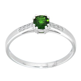 Pearlz Ocean Sterling Silver Chrome Diopside and White Topaz Fashion Ring