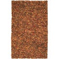 Hand-woven Westford Orange Wool Recycled Fiber Shag (2' x 3')