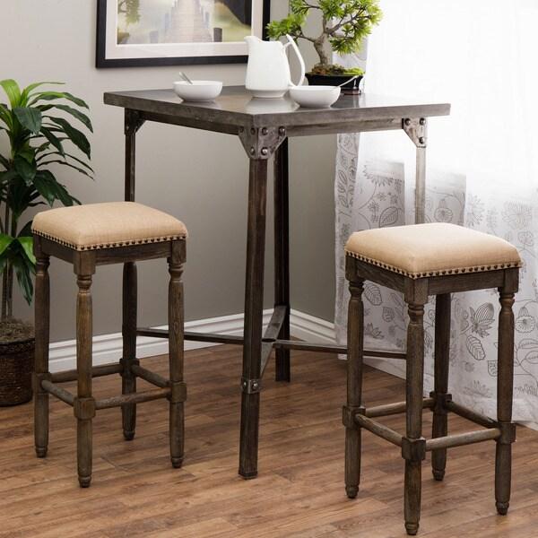 Renate Linen Bar Stools Set Of 2 15072616 Overstock