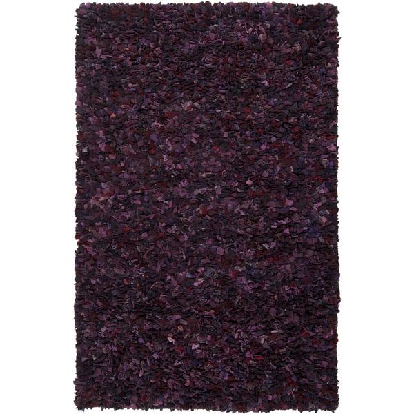 Hand-woven Thetford Purple Wool Recycled Fiber Shag (5' x 8')