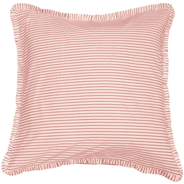 Cottage Home Red Ticking Euro Sham