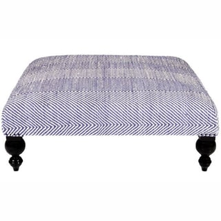 nuLOOM Hand-upholstered Chevron Blue Wood Bench