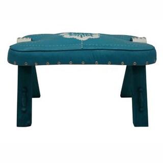 nuLOOM Handmade Casual Living Morrocan Blue Ottoman Stool